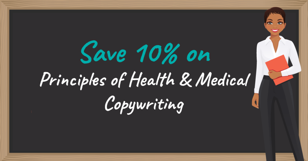 Coupon and discount code for principles of health and medical copywriting course