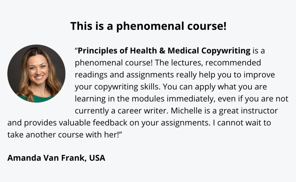 testimonial for principles of health and medical copywriting