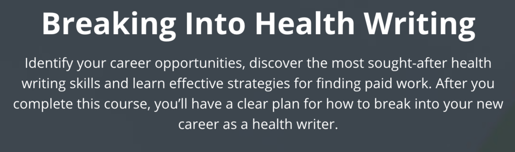 Breaking into health writing discount code coupon code